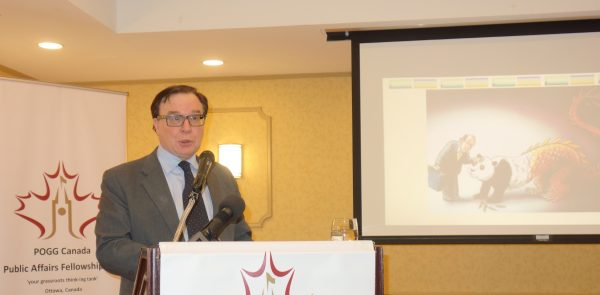 Professor Charles Burton from the University of Brock speaks at a Peace, Order, and Good Governance event in Ottawa, Canada on March 9, 2019. (The Epoch Times)