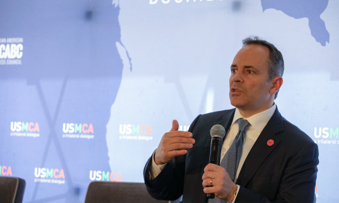 Governor Matt Bevin of Kentucky talks at the Prospects for USMCA Ratification Trilateral Dialogue in Washington, on Feb. 21, 2019. (Tasos Katopodis/Getty Images for CABC)