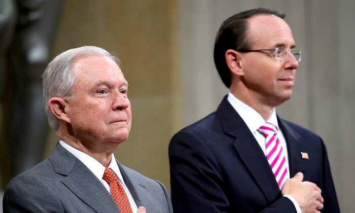 Attorney General Jeff Sessions (L) and Deputy Attorney General Rod Rosenstein (R) attend the Religious Liberty Summit at the Department of Justice July 30, 2018 in Washington, DC. (Win McNamee/Getty Images)