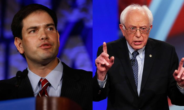 Sen. Bernie Sanders [R] (Win McNamee/Getty Images) and Sen. Marco Rubio [L] (Joe Raedle/Getty Images)