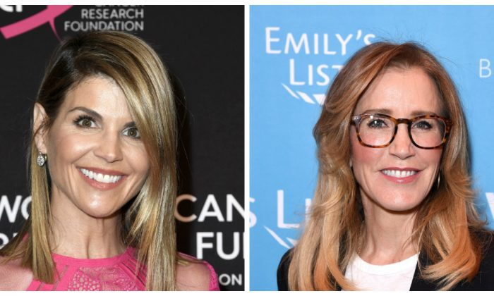 TV Actresses Lori Loughlin (L) and Felicity Huffman. (Frazer Harrison/Getty Images); (Presley Ann/Getty Images for EMILY'S List))