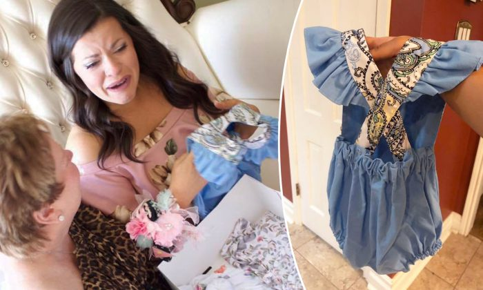 Mom Cries When She Finds Onesie for Newborn Is Made from Late Grandma's Shirt