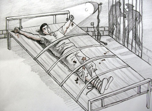 Illustration of a victim handcuffed to a bed under a glaring light that is never turned off. (Minghui.org)