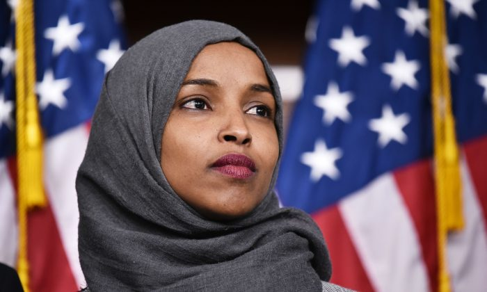Representative-elect Ilhan Omar, (D-Minn.), attends a press conference in the House Visitors Center at the Capitol in Washington on Nov. 30, 2018. MANDEL NGAN/AFP/Getty Images