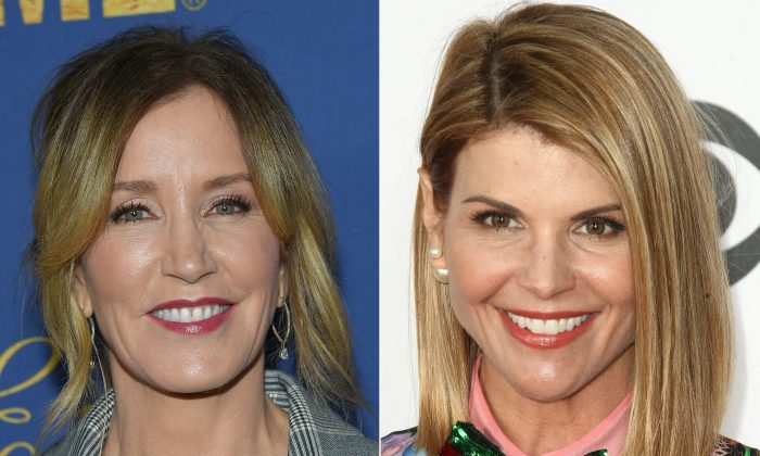 Felicity Huffman(L) attending the Showtime Emmy Eve Nominees Celebration in Los Angeles on September 16, 2018 and actress Lori Loughlin arriving at the People's Choice Awards 2017 at Microsoft Theater in Los Angeles, California, on January 18, 2017. LISA O'CONNOR,TOMMASO BODDI/AFP/Getty Images