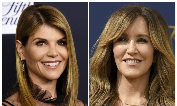 Actress Lori Loughlin at the Women's Cancer Research Fund's An Unforgettable Evening event in Beverly Hills, Calif., on Feb. 27, 2018, left, and actress Felicity Huffman at the 70th Primetime Emmy Awards in Los Angeles on Sept. 17, 2018. (AP Photo)