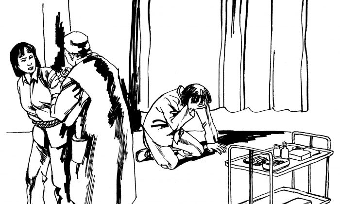 Illustration of a victim being forcibly injected with psychiatric drugs. Psychiatric abuse as a method of persecution is common in China, particularly against Falun Dafa adherents. (Minghui.org)