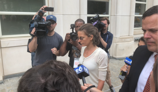 Clare Bronfman leaves Brooklyn federal court in New York on July 25, 2018. (Bowen Xiao/The Epoch Times)