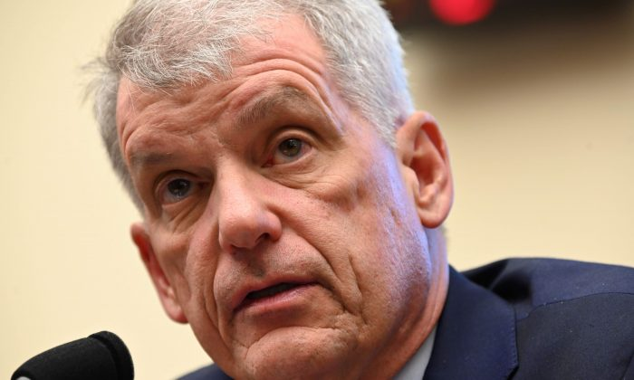 """Wells Fargo CEO Tim Sloan testifies before a House Financial Services Committee hearing titled: """"Holding Megabanks Accountable: An Examination of Wells Fargo's Pattern of Consumer Abuses"""" in Washington, U.S. March 12, 2019. REUTERS/Erin Scott"""