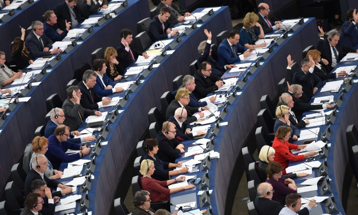Members of the European Parliament take part in a voting session during a plenary session at the European Parliament in Strasbourg, France, on Dec. 11, 2018. (Frederick Florin/AFP/Getty Images)