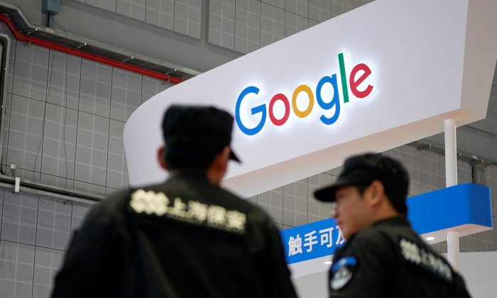 A Google sign is seen during the China International Import Expo (CIIE), at the National Exhibition and Convention Center in Shanghai, China on Nov. 5, 2018. (Aly Song/Reuters)