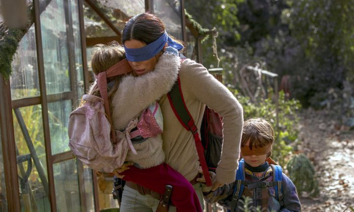 "Sandra Bullock in a scene from the film, ""Bird Box."" (Saeed Adyani/Netflix via AP)"