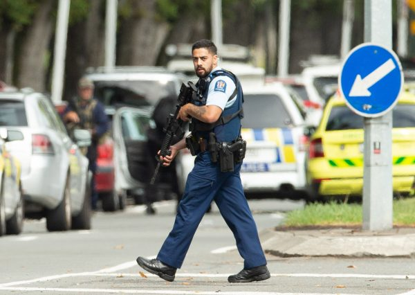 Armed police following a shooting at the Al Noor mosque in Christchurch New Zealand