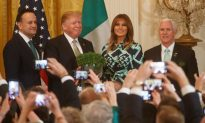 Melania Stuns in Green and Blue Dress During St. Patrick's Day Celebration at White House