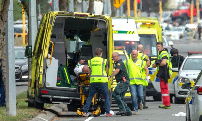 An injured person is loaded into an ambulance following a shooting at the Al Noor mosque in Christchurch, New Zealand, on March 15, 2019. (Martin Hunter/Reuters)