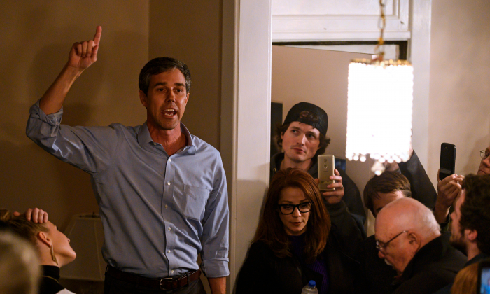 Former Texas Congressman and Democratic party Presidential Beto O'Rourke speaks to a crowd   during a campaign stop in Muscatine, Iowa on March 14, 2019. (Stephen Maturen/AFP/Getty Images)