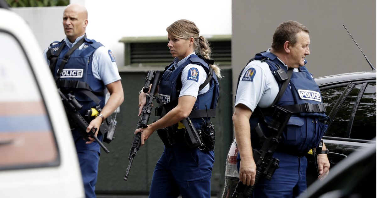 Armed police patrol outside a mosque in central Christchurch, New Zealand
