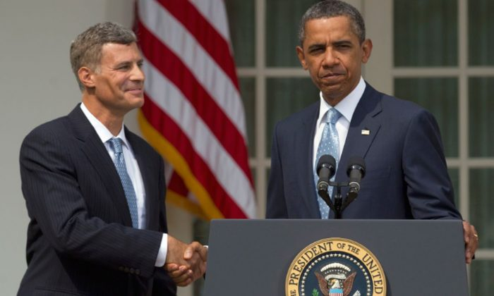 President Barack Obama shakes hands with Alan Krueger as he announces him as chairman of the Council of Economic Advisers in the Rose Garden of the White House in Washington on Aug. 29, 2011. (AP Photo/Carolyn Kaster, File)