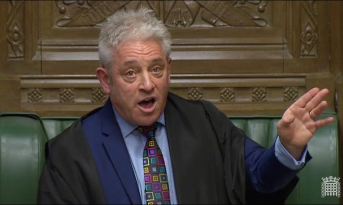 Speaker of the House John Bercow speaks in Parliament, in London on March 18, 2019. (Reuters TV)