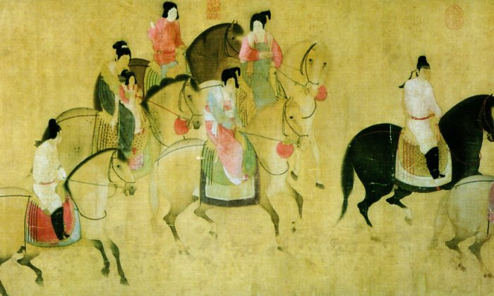 """""""Spring Outing of the Tang Court,"""" 8th century, by Emperor Xuanzong era artist Zhang Xuan. (Public Domain)"""