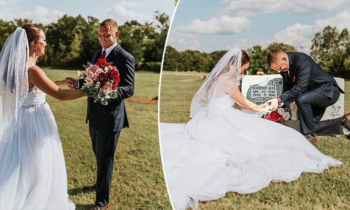 Bride Surprises Groom by Wearing Wedding Dress at His Beloved Mother's Grave