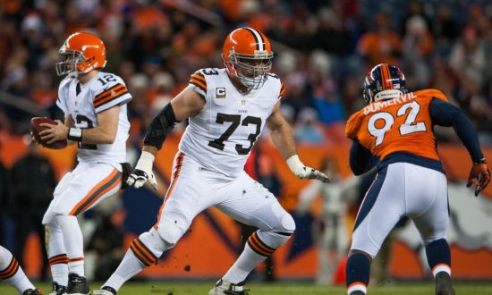 57afcbfcc51 Tackle Joe Thomas  73 of the Cleveland Browns blocks during a game against  the Denver