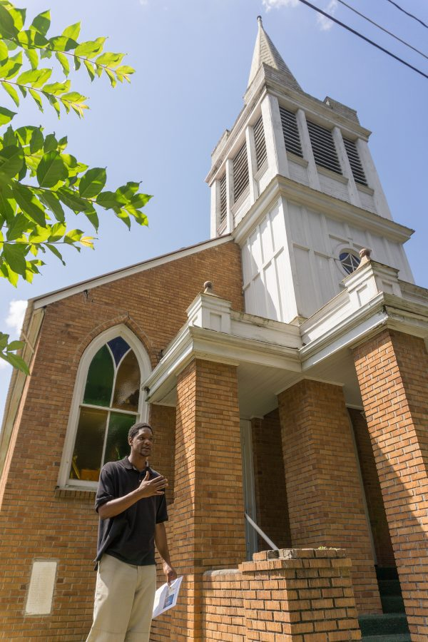 Jeremy Houston in front of Beulah Missionary Baptist Church