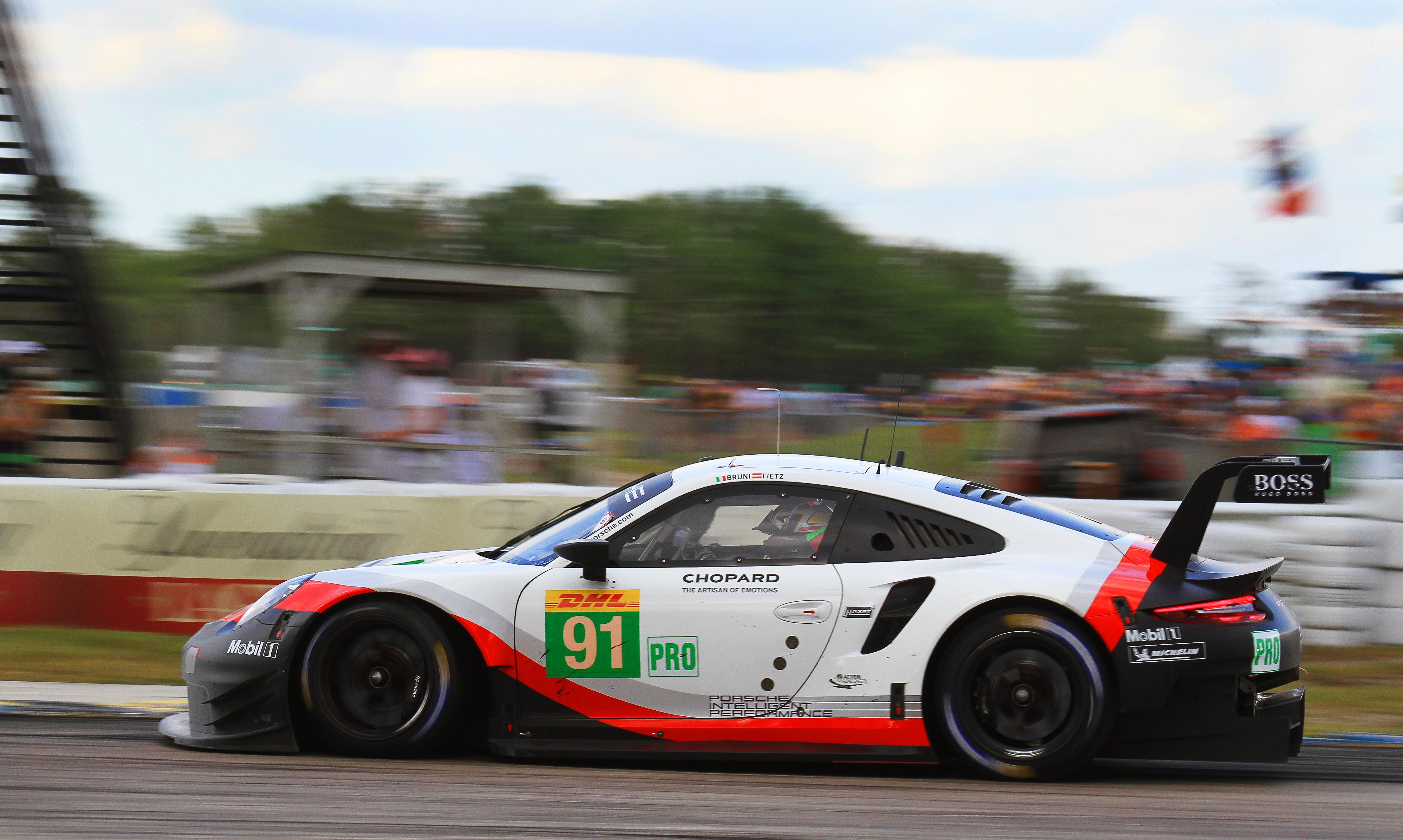 The #91 Porsche won GTE-Pro with fuel
