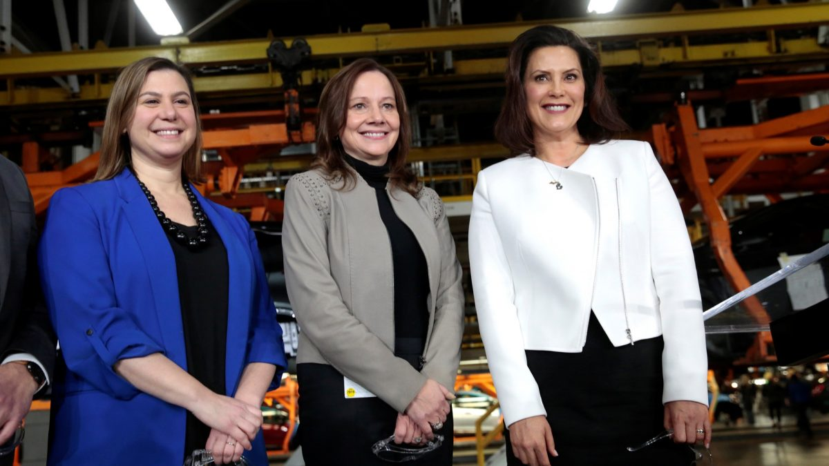 General Motors Chief Executive Officer Mary Barra poses with Democratic Representative Elissa Slotkin and Michigan Governor Gretchen Whitmer at the GM Orion ...