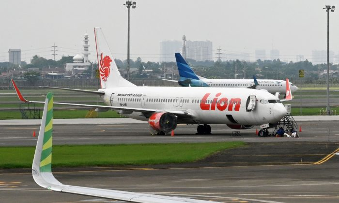 Lion Air and Garuda Indonesia planes at the Sukarno-Hatta International Airport in Tangerang, Indonesia, on Nov. 27, 2018. (Adek Berry/AFP/Getty Images)