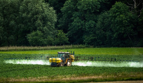 A farmer sprays pesticides on his crops in Bailleul, northern France.