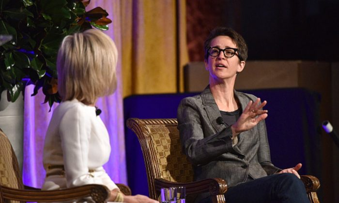 Honoree Andrea Mitchell (L) and Rachel Maddow speak onstage at The International Women's Media Foundation's 28th Annual Courage In Journalism Awards Ceremony at Cipriani 42nd Street in New York City, on Oct. 18, 2017. (Bryan Bedder/Getty Images for IWMF)