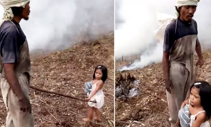 5-Year-Old Poor Girl Walks Blind Dad to Farm Every Day and Guides Him at Work
