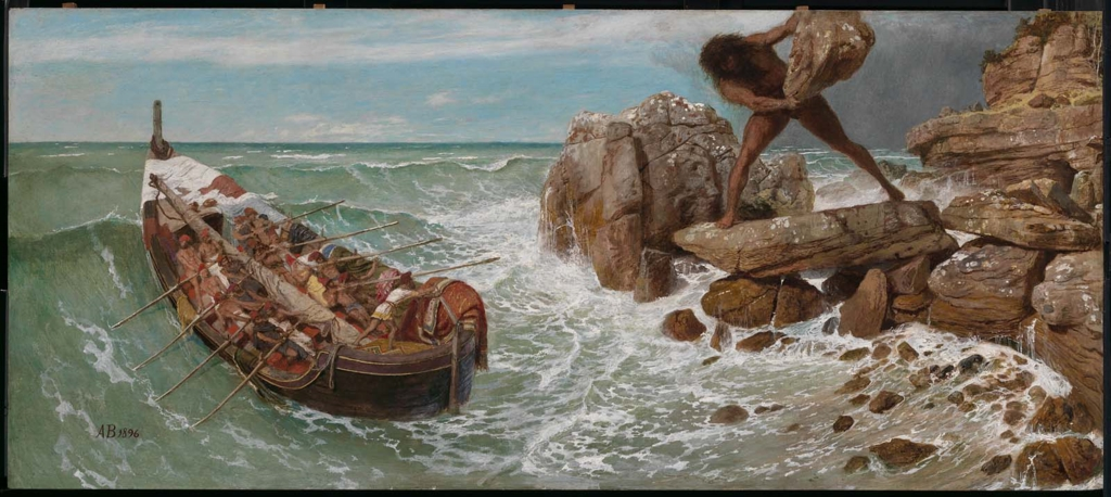 """There are just too many hideous ways to die in Homer's works. """"Odysseus and Polyphemus,"""" 1896, byArnold Böcklin. (Public Domain)"""