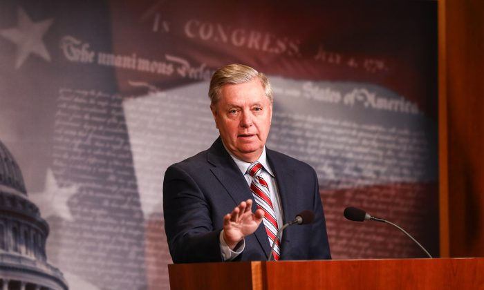 Sen. Lindsey Graham (R-S.C.) speaks to media about the Mueller report at the Capitol in Washington in March 25, 2019. (Charlotte Cuthbertson/The Epoch Times)