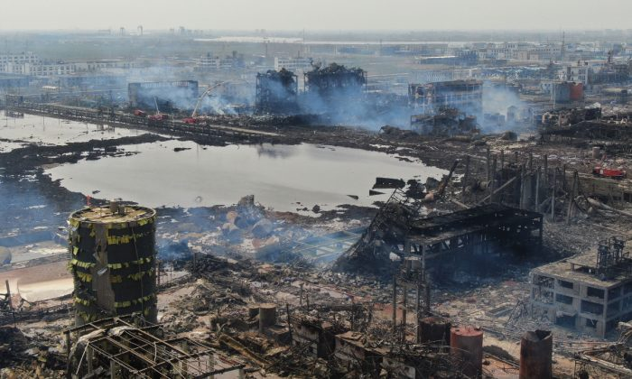 An aerial view shows a chemical plant after an explosion in Yancheng in China's eastern Jiangsu province, on March 23, 2019. - The death toll in a chemical plant explosion in China rose to 64 on March 23 but rescuers found a survivor among more than two dozen still missing in the debris of one of the country's worst industrial accidents in recent years. (STR/AFP/Getty Images)