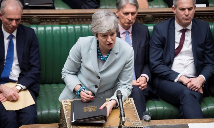British Prime Minister Theresa May speaks in Parliament in London, Britain March 25, 2019, ©UK Parliament/Jessica Taylor/Handout via REUTERS