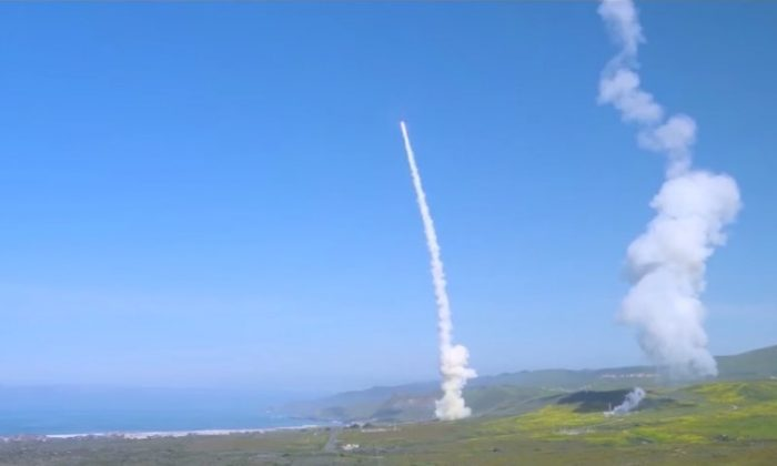 This image shows one of the intercepting projectiles careening towards its target of a test Intercontinental Ballistic Missile on March 25, 2019. (Missile Defense Agency)