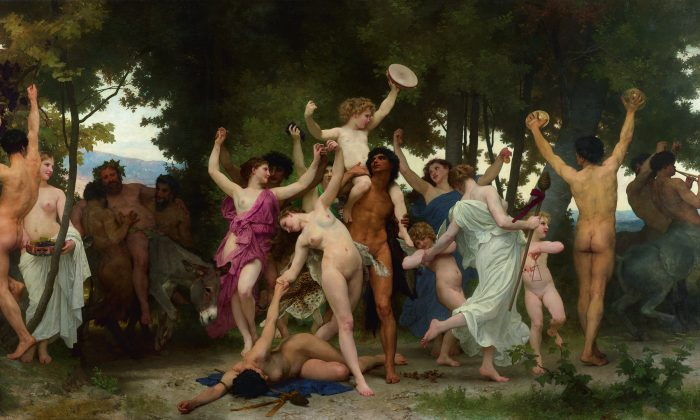 """""""La Jeunesse de Bacchus (Youth of Bacchus),"""" 1884, by William-Adolphe Bouguereau. Oil on canvas, 20 feet by 11 feet. Private collection. (Courtesy of Sotheby's)"""
