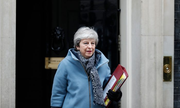 Britain's Prime Minister Theresa May leaves 10 Downing Street in London on March 27, 2019. (Adrian Dennis/AFP/Getty Images)