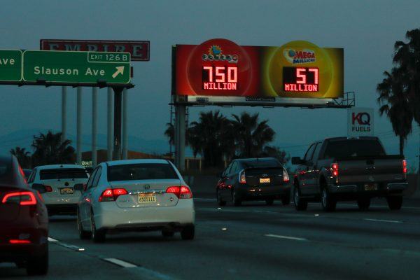 A highway billboard promoting Powerball jackpot