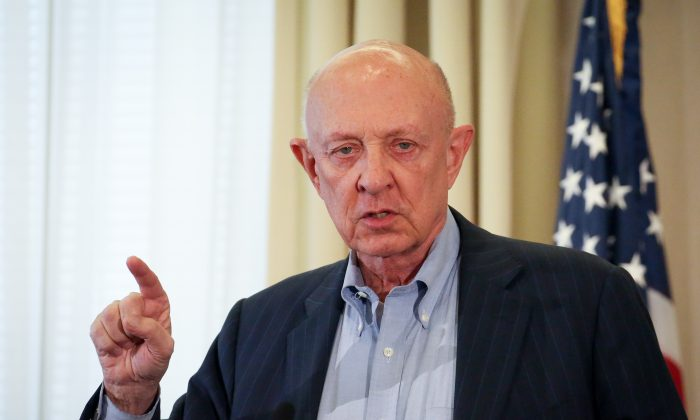 Former CIA Director James Woolsey speaks at the launch of the Committee on the Present Danger: China, at the Reserve Officers Association in Washington on March 25, 2019. (Samira Bouaou/The Epoch Times)
