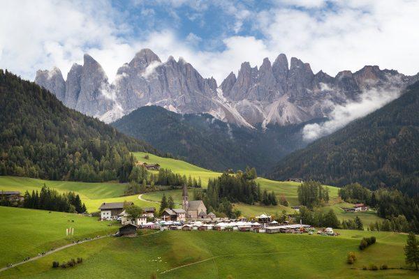 Dolomites mountains behind Alto Adige Italy