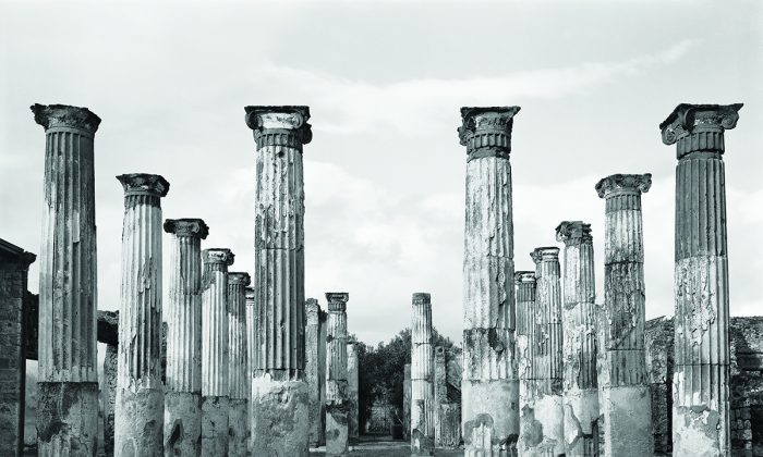 """Peristyle, House of the Colored Capitals (VII.4.31), Pompeii"" 2015, by William Wylie. Pigment ink print, 45 inches by 56 inches. (William Wylie)"