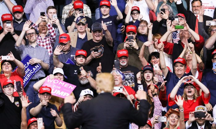 U.S. President Donald Trump at a MAGA rally in Grand Rapids, Mich., on March 28, 2019. (Charlotte Cuthbertson/The Epoch Times)