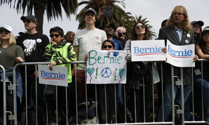Supporters of 2020 Democratic presidential candidate Sen. Bernie Sanders during a campaign rally at Great Meadow Park in Fort Mason in San Francisco, Calif., on March 24, 2019. (Stephen Lam/Getty Images)