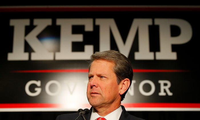 Brian Kemp, then Republican gubernatorial candidate, attends the Election Night event at the Classic Center in Athens, Ga., on Nov. 6, 2018. (Kevin C. Cox/Getty Images)