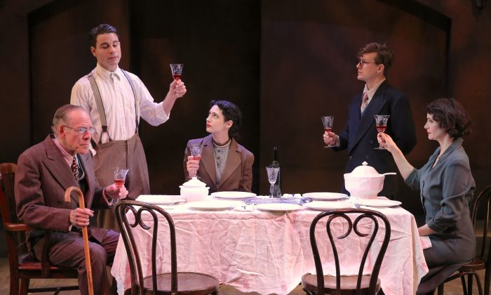 "(L–R)  Mark Jacoby, Sean Hudock, Sophia Blum, Seamus Mulcahy, and Carey Van Driest in a scene from ""Vilna.""  (Carol Rosegg)"