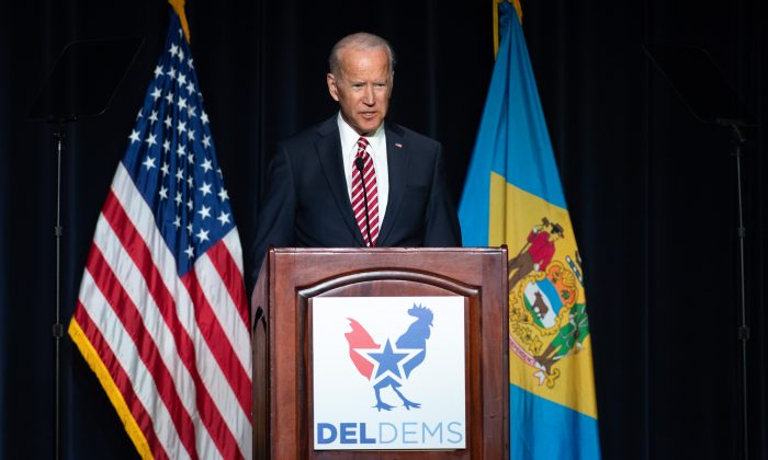 Former US Vice President Joe Biden speaks during the First State Democratic Dinner in Dover, Delaware, on March 16, 2019. (SAUL LOEB/AFP/Getty Images)