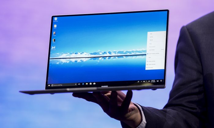 The Huawei MateBook X Pro laptop presented at a press conference at the Mobile World Congress in Barcelona, Spain on February 25, 2018. Microsoft recently revealed how it found a backdoor vulnerability within Matebook laptops. (JOSEP LAGO/AFP/Getty Images)